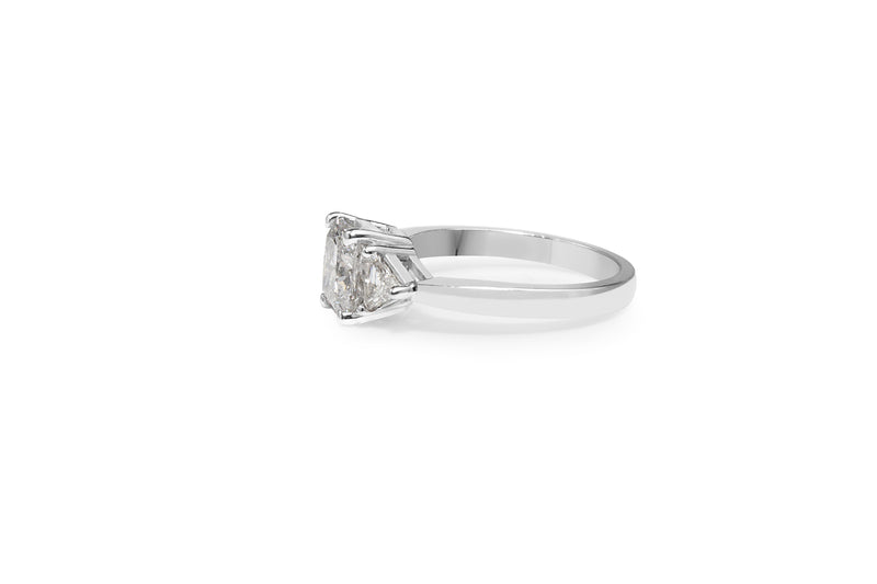 18ct White Gold Cushion and Trillion Cut 3 Stone Diamond Ring