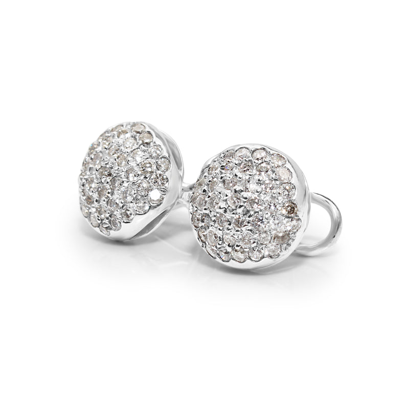 14ct White Gold Cluster Diamond Stud Earrings