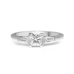 18ct White Gold Princess Cut and Baguette Diamond Ring