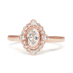 18ct Rose Gold Oval Diamond Ring