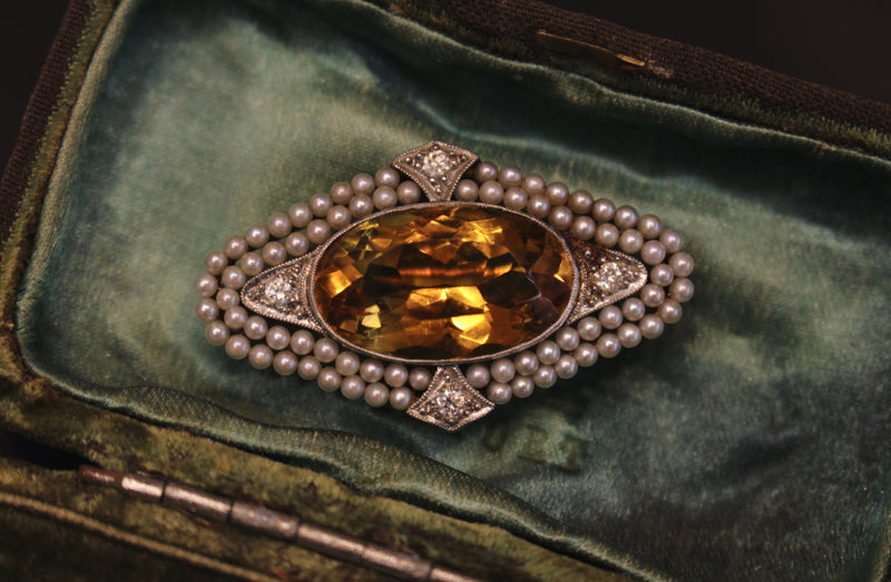 14ct Yellow and White Gold Antique Citrine and Pearl Brooch