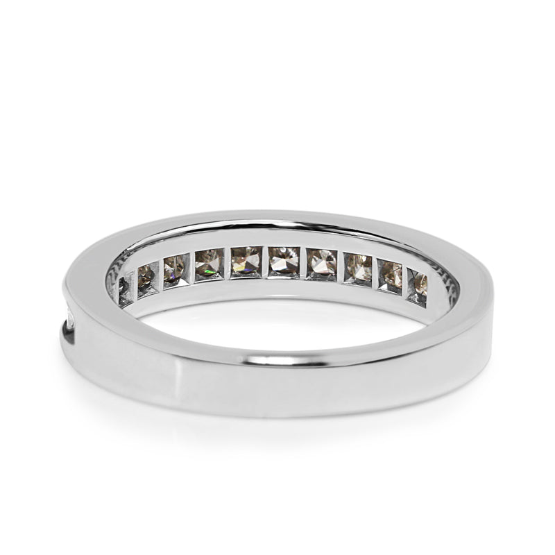 14ct White Gold Princess Cut Diamond Band