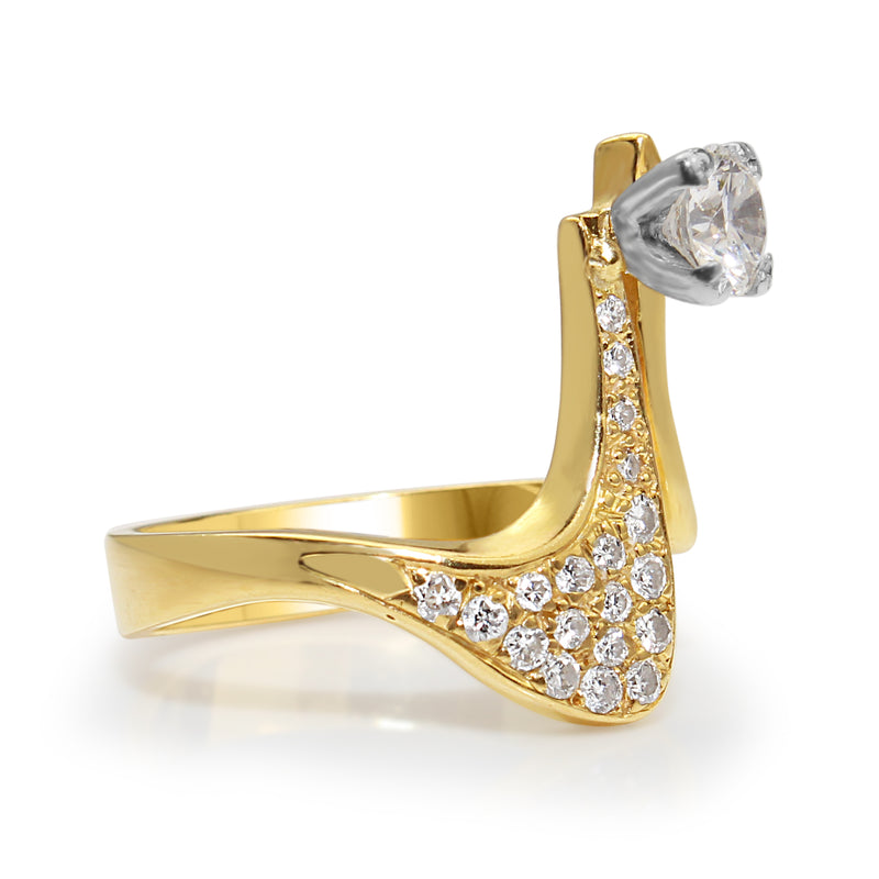 Palladium and 18ct Yellow Gold Handmade Diamond Ring