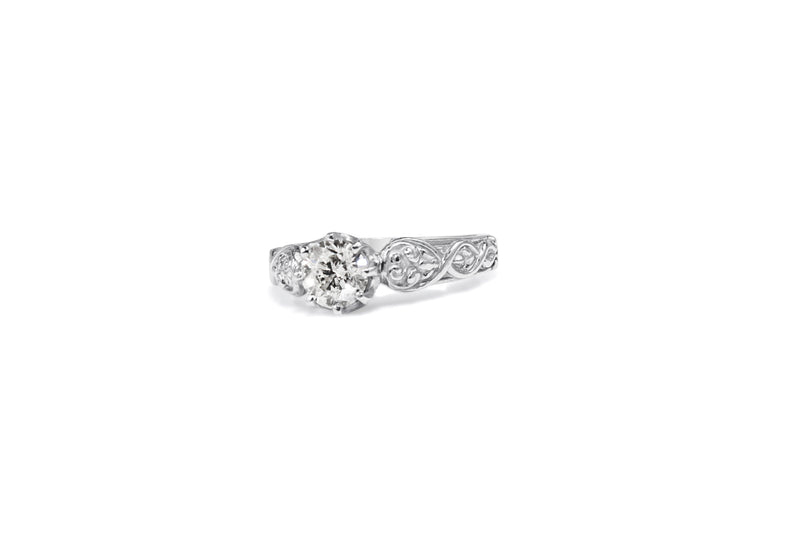 Platinum Engraved Diamond Solitare Ring