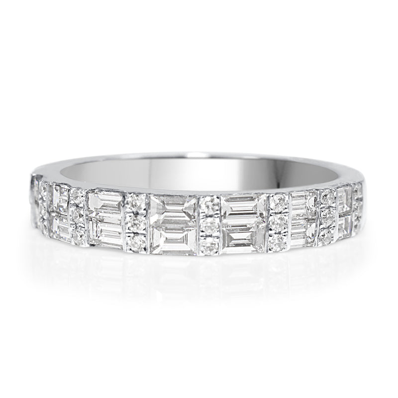 18ct White Gold Baguette Diamond Band