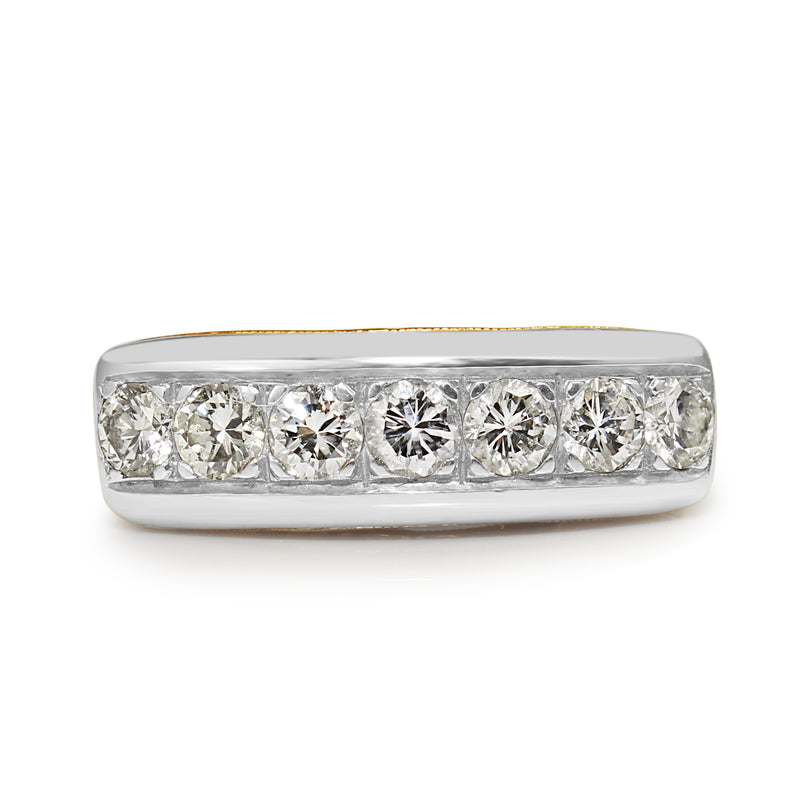 Platinum and 14ct Yellow Gold 7 Stone Diamond Ring