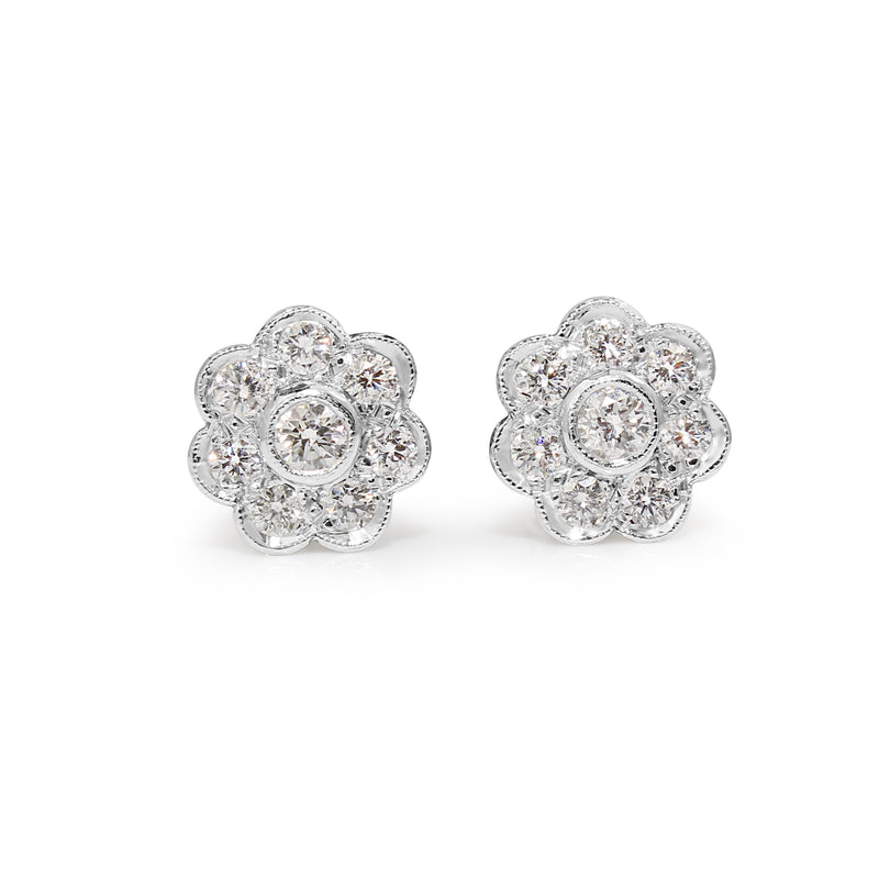 18ct White Gold Diamond Daisy Stud Earrings