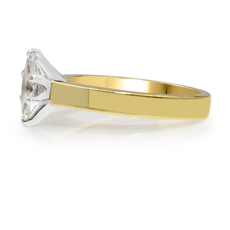 18ct Yellow Gold Marquise Diamond Solitaire Ring