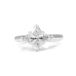 18ct White Gold Marquise and Trillion 3 Stone Diamond Ring