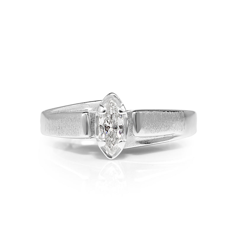 14ct White Gold Marquise Diamond Solitaire Ring