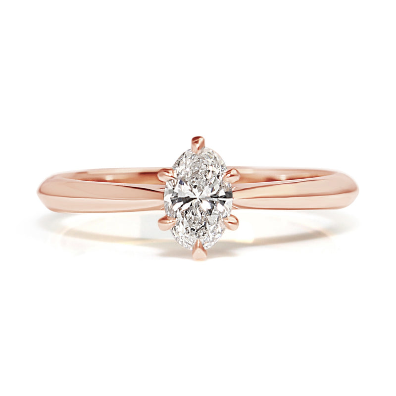 18ct Rose Gold Oval Diamond Solitaire