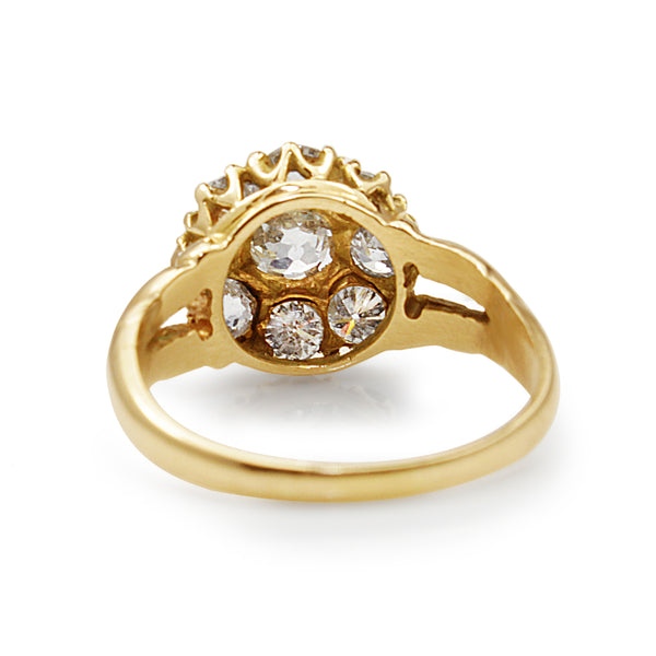 18ct Yellow Gold Antique Old Cut Daisy Ring