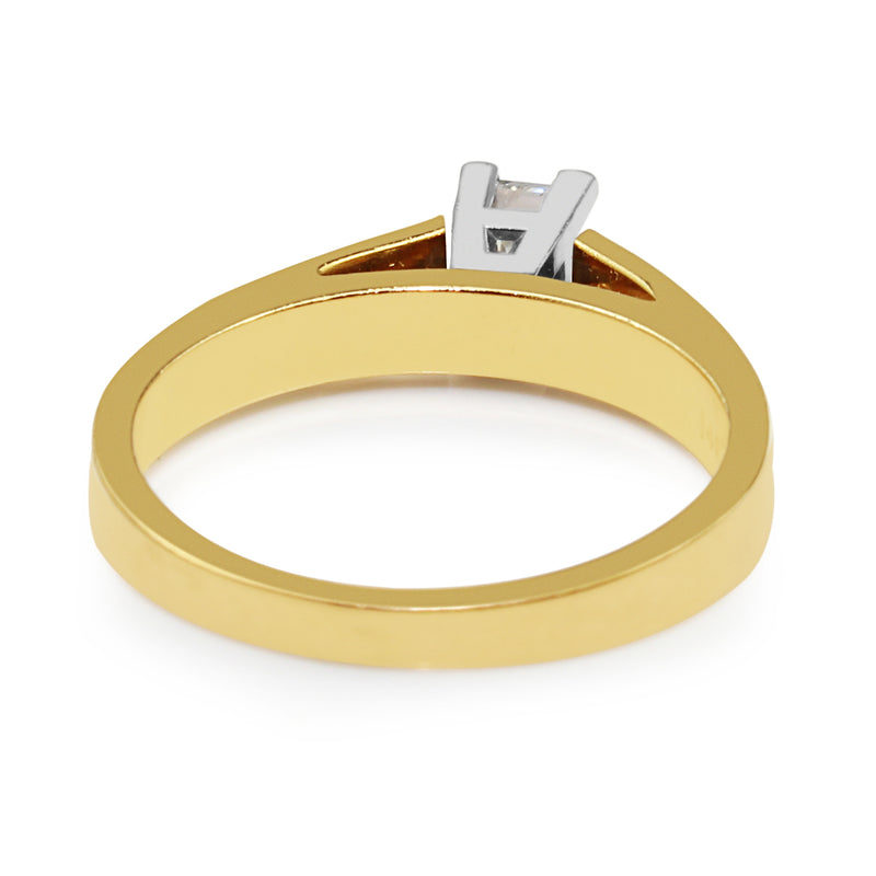 18ct Yellow and White Gold Princess Cut Diamond Ring