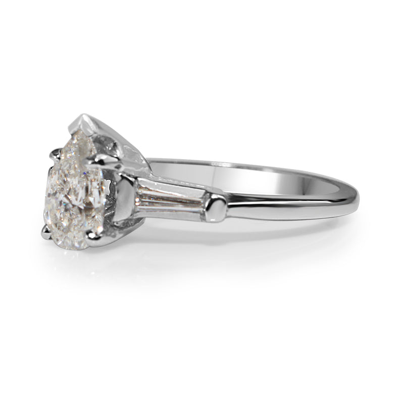14ct White Gold Pear Solitaire Diamond Ring