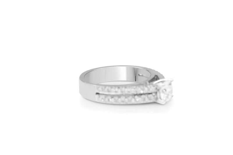 18ct White Gold Double Row Diamond Solitaire Ring