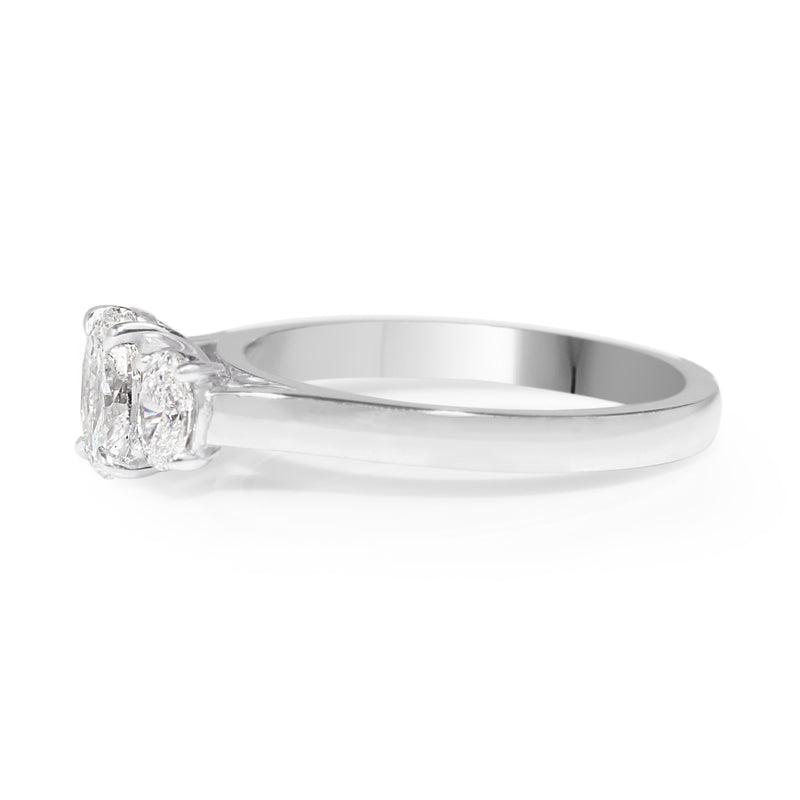 18ct White Gold Oval 3 Stone Diamond Ring