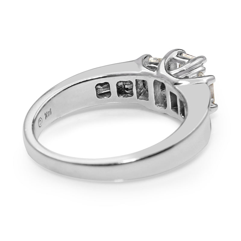 14ct White Gold Radiant and Emerald Cut Diamond Ring