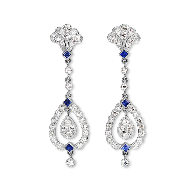 Platinum Art Deco Sapphire and Diamond Drop Earrings