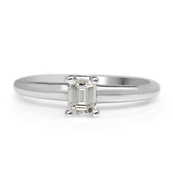 Platinum Emerald Cut Diamond Solitaire Ring