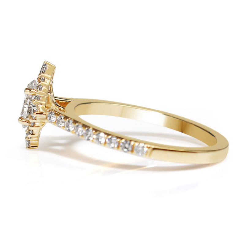 18ct Yellow Gold Oval and Pear Diamond Halo Ring