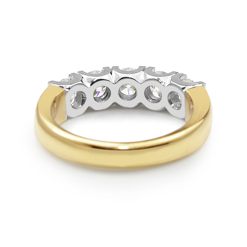 18ct Yellow and White Gold 5 Stone Diamond Ring