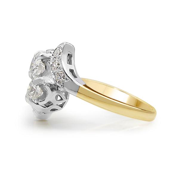 14ct Yellow and White Gold Vintage Moi et Toi Ring