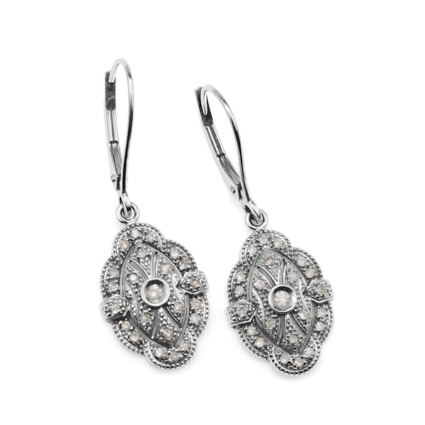 14ct White Gold Deco Style Vintage Diamond Earrings