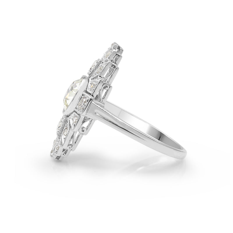 Platinum Art Deco Old and Rose Cut Diamond Ring