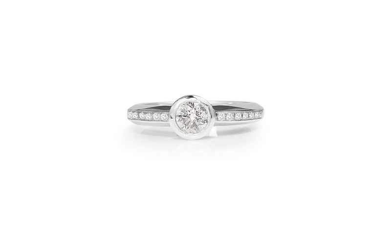 18ct White Gold Bezel Diamond Solitaire Ring