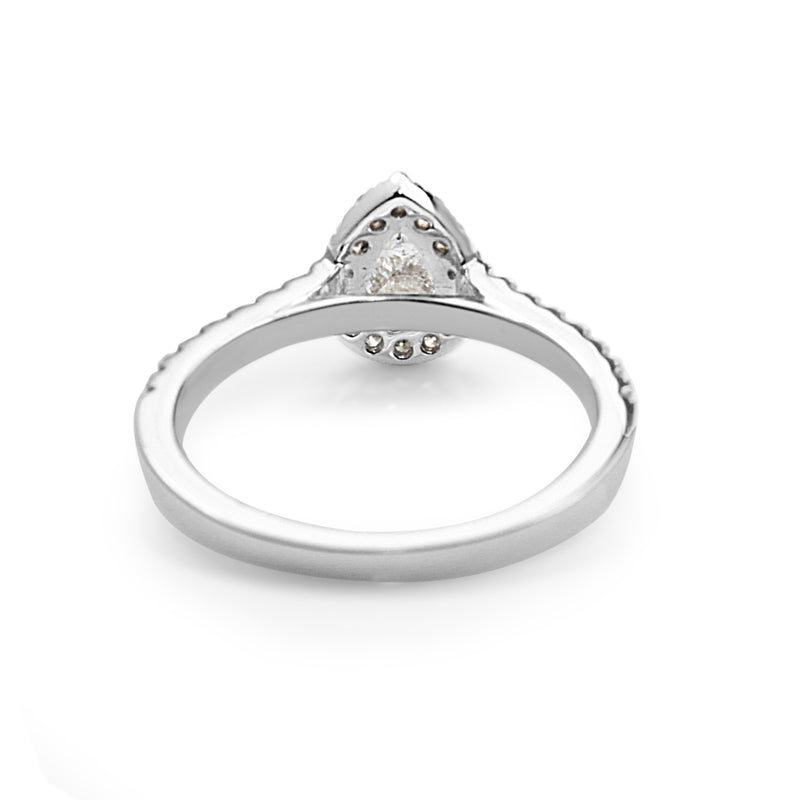 18ct White Gold Pear Shape Diamond Halo Ring