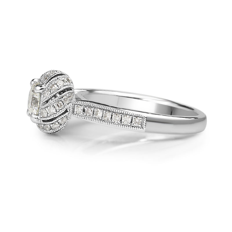 18ct White Gold Deco Style Halo Diamond Ring