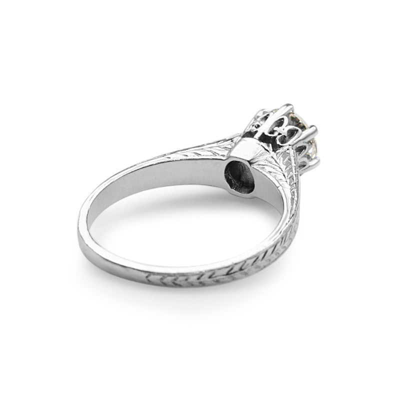 18ct White Gold Antique Style Diamond Solitaire Ring