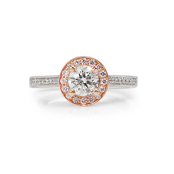 18ct White and Rose Gold Pink and White Diamond Halo Ring