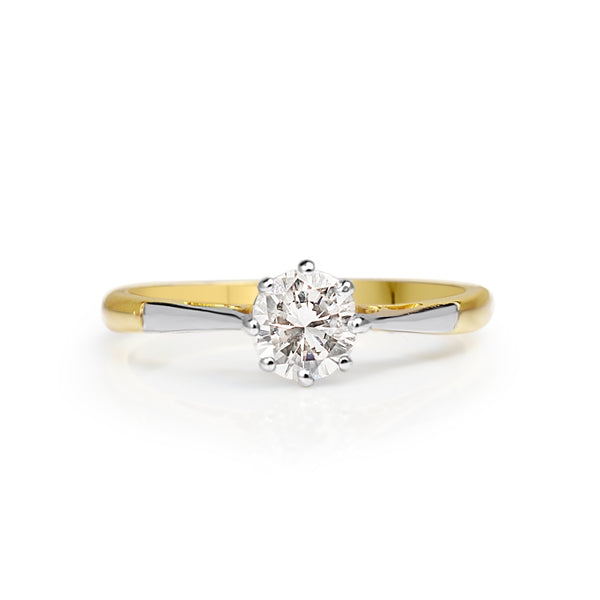 Platinum and 18ct Yellow Gold Antique Old Cut Solitaire Ring