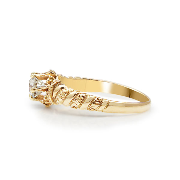 14ct Yellow Gold Antique Etched Solitaire Ring