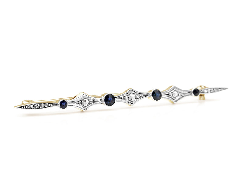 18ct Yellow and White Gold Sapphire and Rose Cut Diamond Brooch