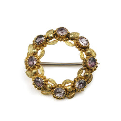 15ct Yellow Gold Antique Amethyst Wreath Brooch