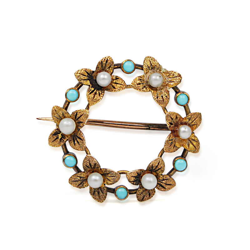 15ct Yellow Gold Turquoise and Pearl Wreath Brooch
