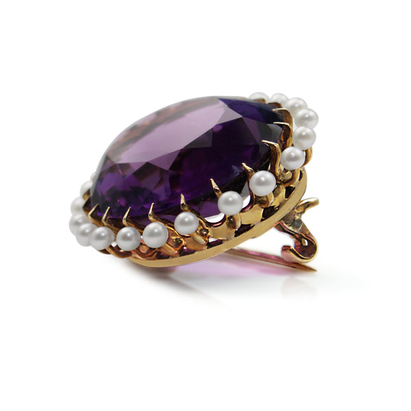 14ct Yellow Gold Antique Amethyst and Pearl Brooch