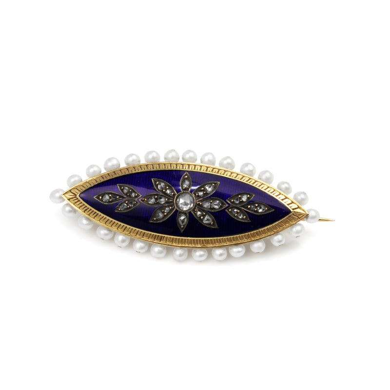 18ct Yellow Gold Antique Enamel, Pearl and Rose Cut Diamond Brooch