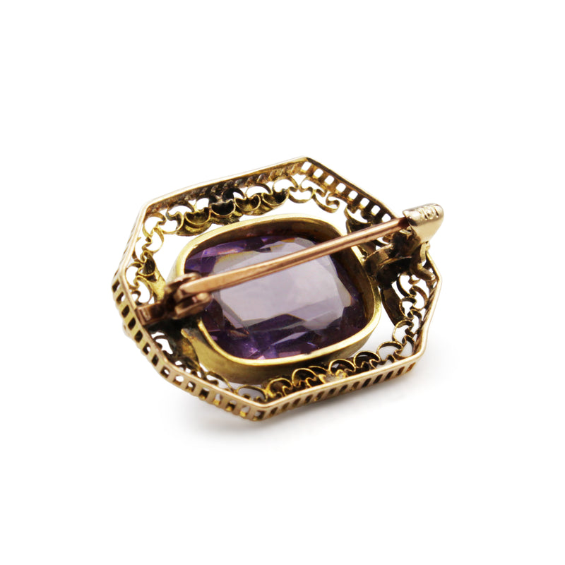 10ct Yellow Gold Antique Amethyst Brooch