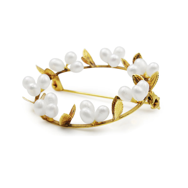 14ct Yellow Gold Pearl Floral Wreath Brooch