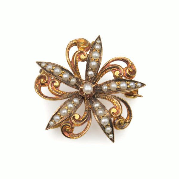 18ct Yellow Gold Antique Pearl Brooch