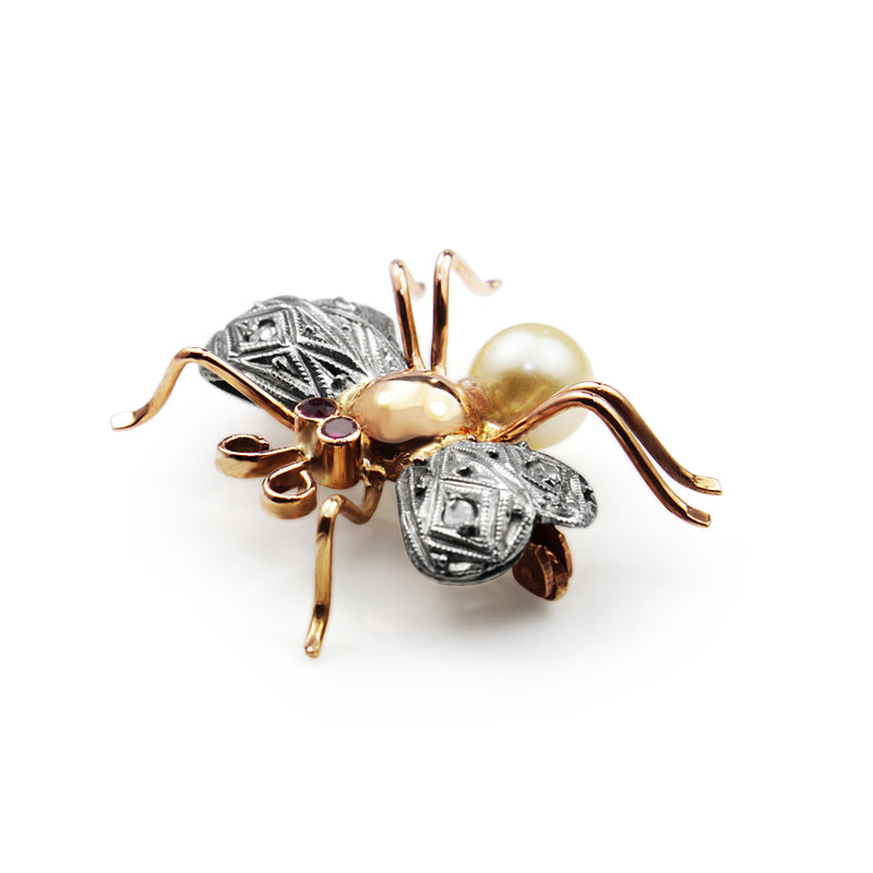 Platinum and 18ct Rose Gold Deco Ruby and Pearl Insect/Bee Brooch