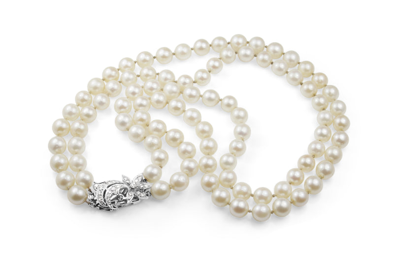 14ct White Gold Cultured Pearl Necklace With Diamond Clasp