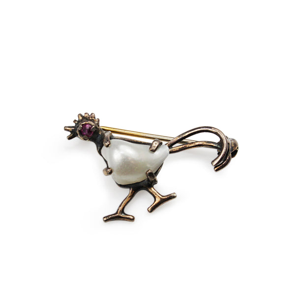 18ct White Gold Pearl and Ruby 'Rooster' Brooch