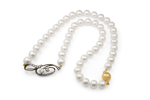 14ct Gold Cultured Pearl Diamond Necklace