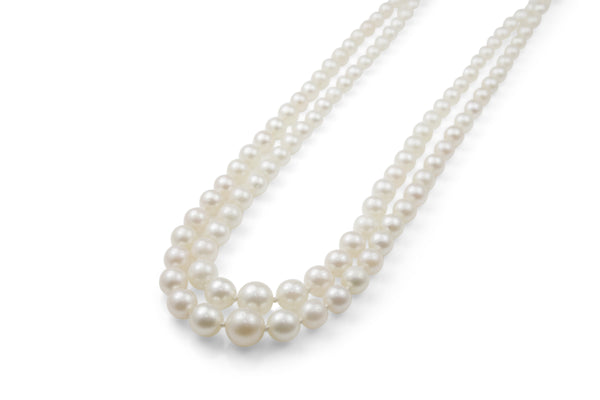Akoya Double Strand Pearl Necklace With Platinum Diamond Clasp