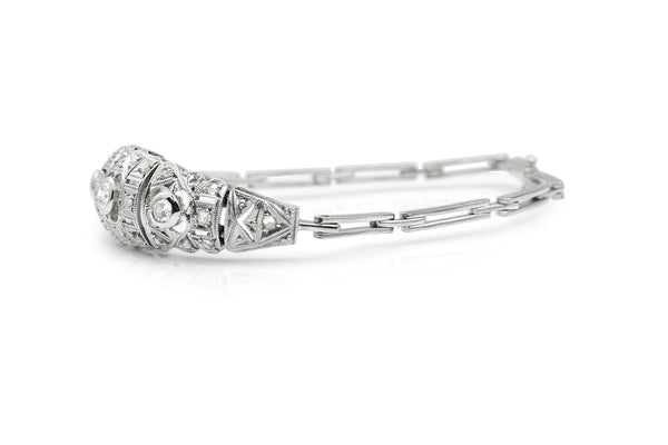 Platinum and 18ct White Gold Art Deco Diamond Bracelet