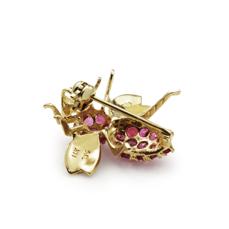 14ct Yellow Gold Ruby Bee Brooch